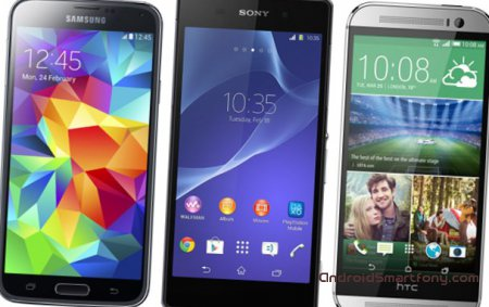 ������������� �������������� ���������� HTC One M8, Sony Xperia Z2 � Samsung Galaxy S5