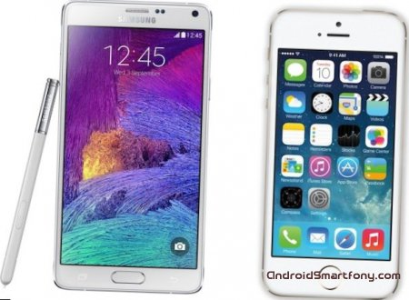 ��������� �������� ���������� Galaxy Note 4 vs iPhone 5s