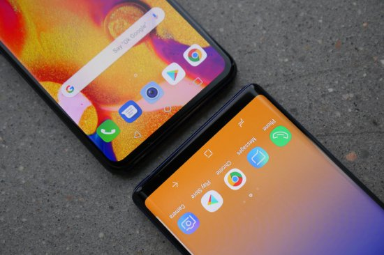 экраны LG V40 ThinQ vs Samsung Galaxy Note 9