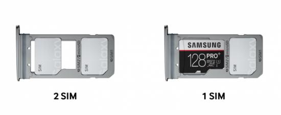 размещение сим и карты памяти в лотке Galaxy S7 edge фото