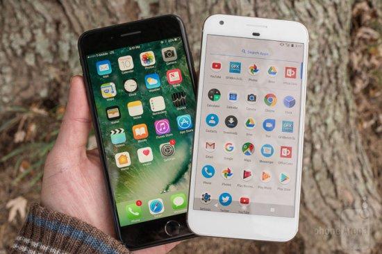 Сравнение смартфонов Google Pixel XL vs Apple iPhone 7 Plus