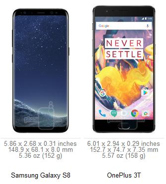 габариты Galaxy S8 vs OnePlus 3T