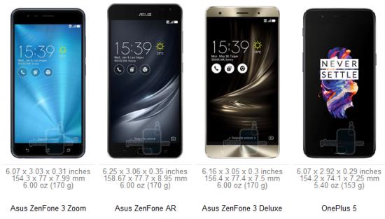 габариты Asus ZenFone 3 Zoom