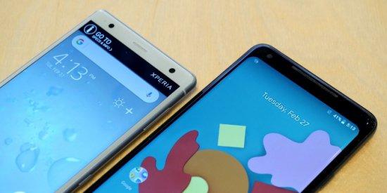 экран Sony Xperia XZ2 vs Google Pixel 2 XL
