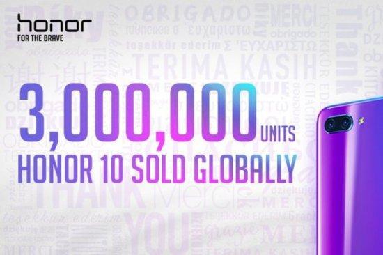 Honor 10 продан более 3 млн. раз