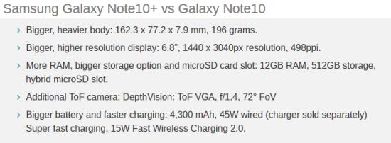 Samsung Galaxy Note 10+ vs Galaxy Note 10